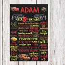 SALE! First Birthday Or Any Age Chalkboard Printable Cars Boy Or Girl Poster