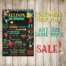 SALE! First Birthday Or Any Age Chalkboard The Little Mermaid Printable Sign Boy Or Girl