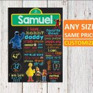 SALE! First Birthday Or Any Age Chalkboard Printable Sesame Street Boys Or Girls Poster
