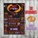 SALE! First Birthday Or Any Age Chalkboard Poster The Incredibles Printable Sign Boy or Girl