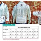 new men western native american sheep leather beaded jacket
