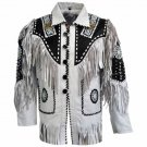new men western native american suede leather beaded jacket