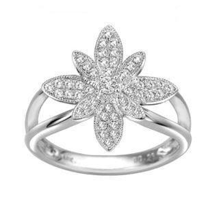 18K White Gold Diamond Floral Ring