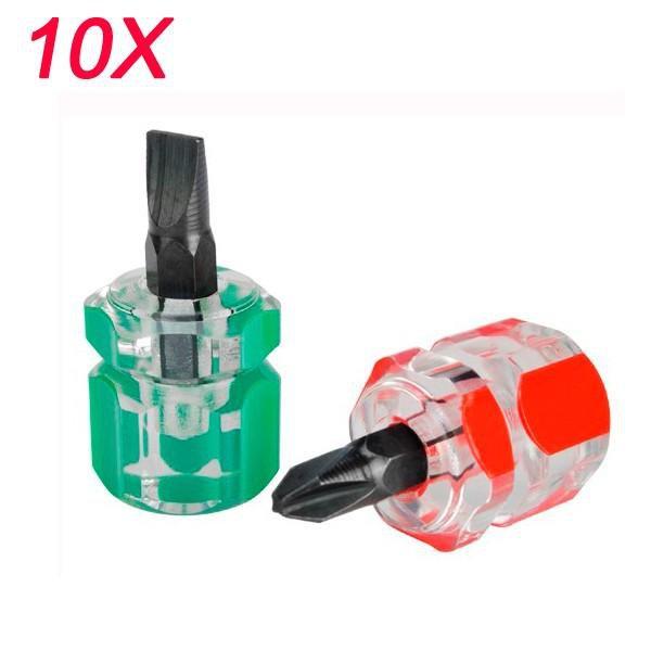 10 set of 2pcs Anti Slip Magnetic Phillip Screwdriver Bits Plus Single Side Mini Screwdriver