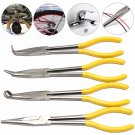 4 Pcs 11 inch Extra Long Nose Pliers Straight Bent Mechanic Equipment Hand Tool Set