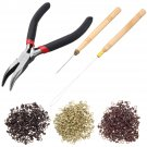 Hair Extension Pliers Hook Tool For Micro Rings Loop With 500 Pcs Silicone Beads
