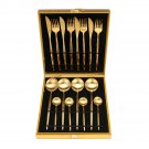 16 Pcs Gold Dinnerware Fork Cutter Tea Spoon Stainless Steel Tableware Cutlery Set