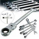 6 Pcs Set 6-12 mm Flexible Pivoting Head Ratchet Combination Spanner Wrench Garage Metric Tool