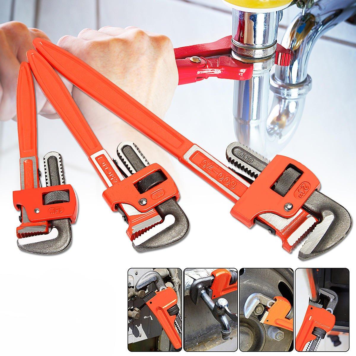 3 Pcs Heavy Duty Pipe Wrench Adjustable Set 14inch 18inch 24inch Monkey Soft Grip