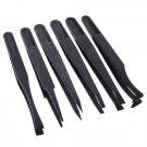 6 Pcs Black Anti-static Plastic Tweezers Heat Resistant Repair Tool