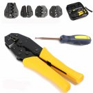 Insulated Terminals Ferrules Crimping Plier Ratcheting Crimper Tool with 5 Interchangeable Tips