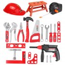 31 Pcs Children Drill Tool Set Role Play Builders Building Construction Toy Repair Tool Kits