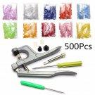 500 Sets Snap Press Plier Plastic Resin Stud Button Fastener Setter Tool Kit