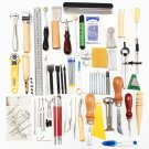 59 Pieces Leather Craft Tool Kit for Hand Sewing Stitching Stamping Set Saddle Making Tool