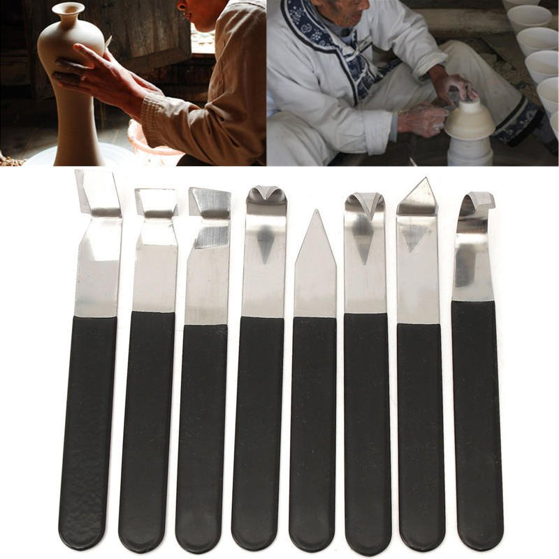 8 Pcs Stainless Steel Pottery Wax Clay Carvers Carving Sculpture Hand Tools
