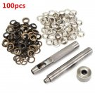 100 Pcs 8mm Copper Eyelets Hollow Leather Craft Belt Punch Tools Kit