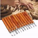 12 Pcs Wood Carving Wood Working Hand Chisel Set Professional Lathe Gouges Tool