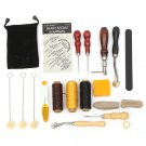17 Pcs Leather Carft Hand Stitching Sewing Tool Set Kit Thread Awl Waxed Thimble