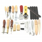 24 Pcs Leather Craft Punch Tools Kit Hand Sewing Stitching Carving Work Saddle Groover