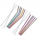 7 PCS Premium Stainless Steel Metal Drinking Straw Reusable Straws Set With Cleaner Brushes