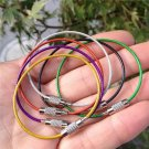 Stainless Steel PVC Insulated Rubber Overstretches Wire Circle Colorful Keychain Key Ring