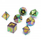 7 Pcs Antique Metal Polyhedral Dices Set Role Playing Game Gadget With Bag