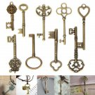 9Pcs Antique Vintage Skeleton Keys Bronze Charm Pendants For DIY Jewelry Making