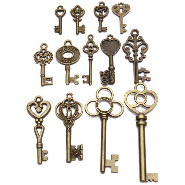 13 pcs Antique Vintage Old Look Skeleton Key Lot Set Pendant Heart Bow Lock Steampunk Jewel
