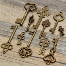 11Pcs Antique Vintage Old Look Skeleton Key Set Pendant Heart Bow Steampunk Lock