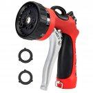 8 Patterns Hose Nozzle Heavy Duty Spray Nozzle High Pressure Laboring-Saving, Easy Storage