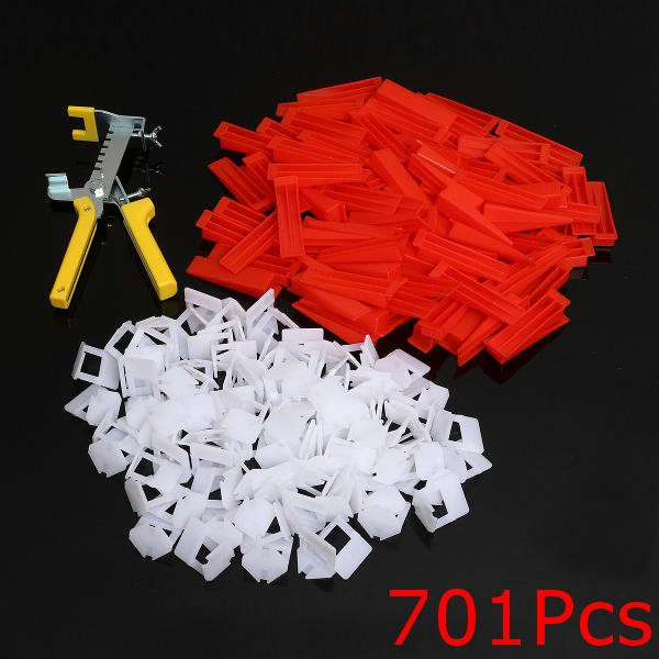500 Pcs Clips+200 Pcs Wedges Tile Leveling System Spacer+Pliers