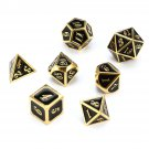 7 Pcs Zinc Alloy Multisided Dices Set Enamel Embossed Heavy Metal Polyhedral Dice With Bag