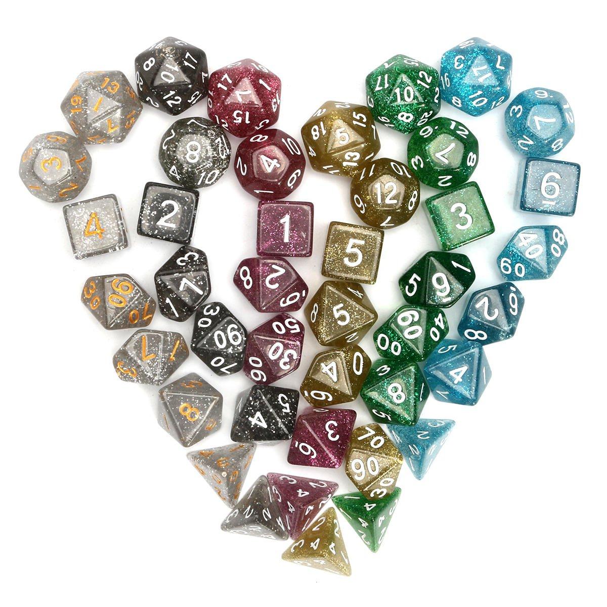 42 Pcs Polyhedral Dice Set D20 D12 D10 D8 D6 D4 Games With Bag Velvet Pouches