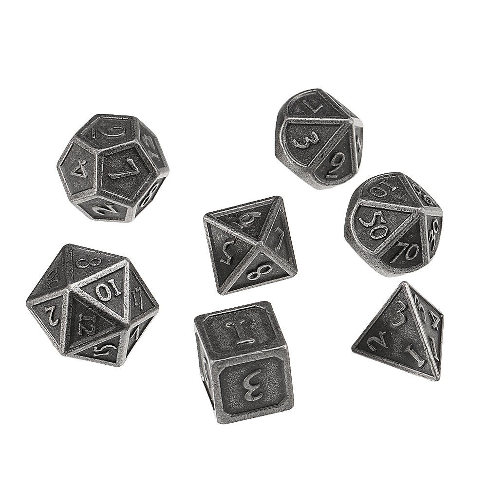 7 Pcs Solid Metal Heavy Dice Set Polyhedral Dices Role Playing Games Dice Gadget RPG