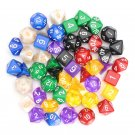 49 Pcs Multi-sided Polyhedral Digital Acrylic Dice Set 7 Colors w/Carry Bag