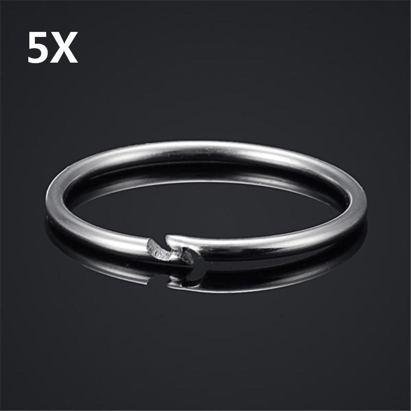 5Pcs 38mm EDC Stainless Steel Keychain Key Ring Hanging Buckle Tool