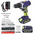 3 In 1 Hammer Drill 48V Cordless Drill Double Speed LED lighting 1/2Pcs 50Nm 25+1 Torque