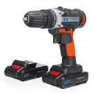30V Cordless Rechargeable Power Drill Driver Electric Screwdriver with 2 Li-ion Batteries