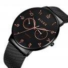 BIDEN BD0047 Ultra Thin Casual Style Men Wrist Watch Week Display Mesh Steel Quartz Watch