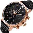 MINI FOCUS MF0185G Business Style Complete Calendar Mesh Steel Men Wristwatch Quartz Watch