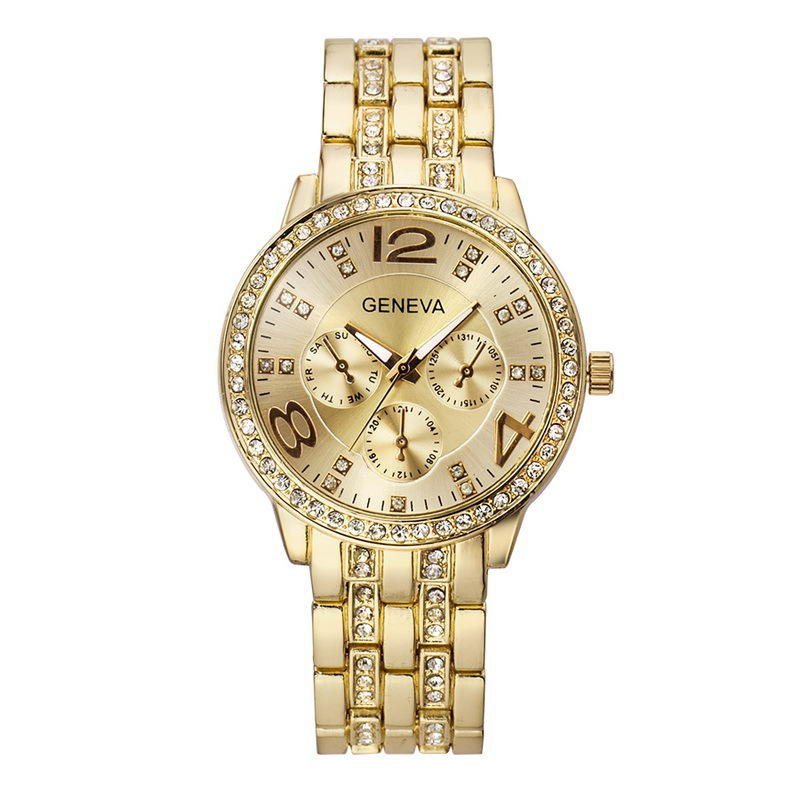 Fashion Crystal Luxury Big Number Stainless Steel Band Men Women Quartz Watch