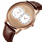 CRRJU 2133 Two Dial Display Men Wrist Watch Casual Style Leather Strap Quartz Watch