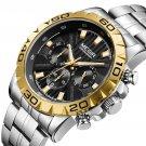 Business Hardlex Mirror Luminous Waterproof Quartz Watch Stainless Steel Men Wrist Watch