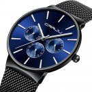 CRRJU 2155 Men Sapphire Blue Three Small Dial Calendar Fashion Steel Strap Casual Quartz Watch