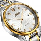 SKMEI 9101 Business Style Men Wrist Watch Full Steel Calendar Crystal Quartz Watch