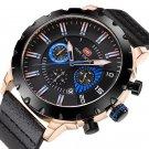 MINI FOCUS MF0079G Multifunction Men Wrist Watch Chronograph Leather Band Quartz Watch