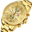 Royal Golden Stainless Steel Chronograph Business Quartz Watch Men Wristwatch