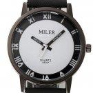 MILIER 8287 Fashion Unisex Male Female Leather Strap Lovers Quartz Wrist Watch