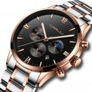 Creative Sun Moon Men Business Style Chrono 316L Stainless Steel Strap Quartz Watch