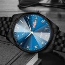 Men Luminous Display Fashion Blue Black Dial Day Week Display Stainless Steel Quartz Watch